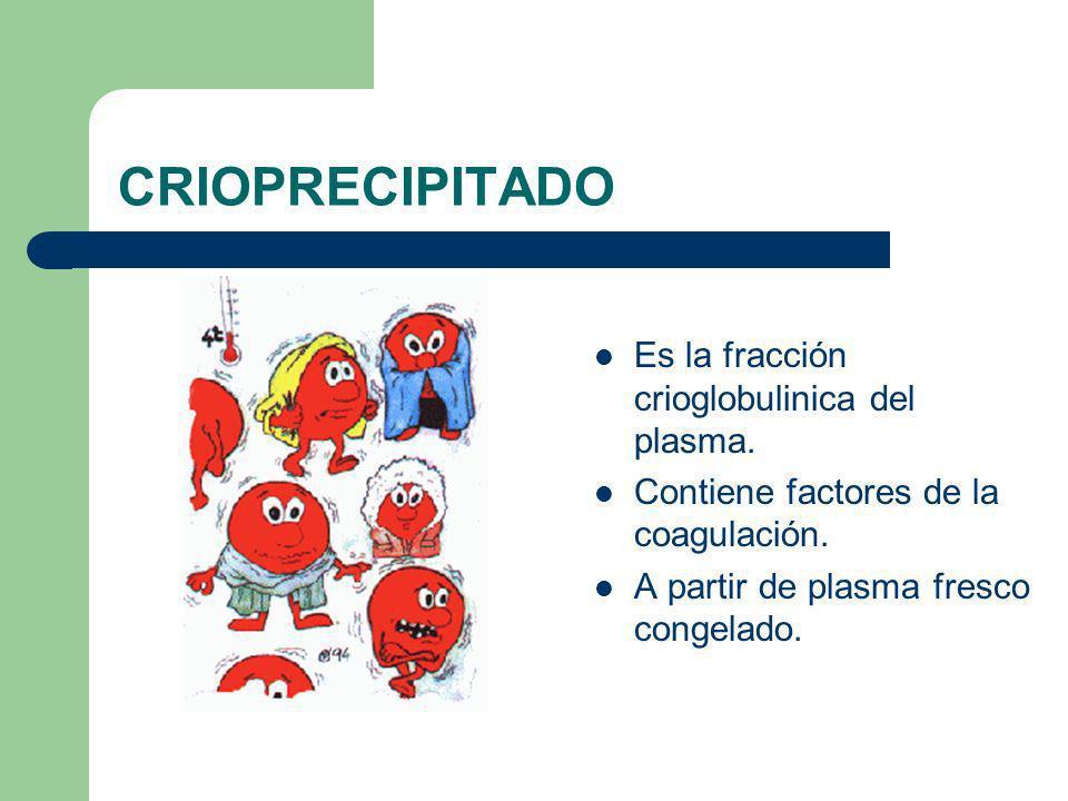 CRIOPRECIPITADO Es la fracción crioglobulinica del plasma. Contiene factores de la coagulación. A partir de plasma fresco congelado.