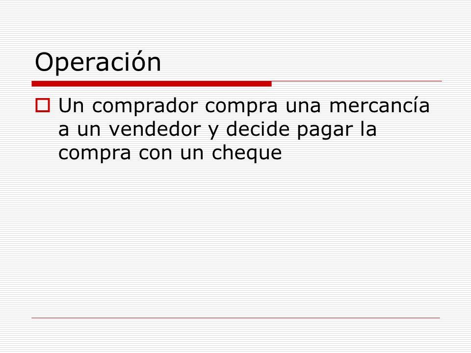 Operación Un comprador compra una mercancía a un vendedor y decide pagar la compra con un cheque