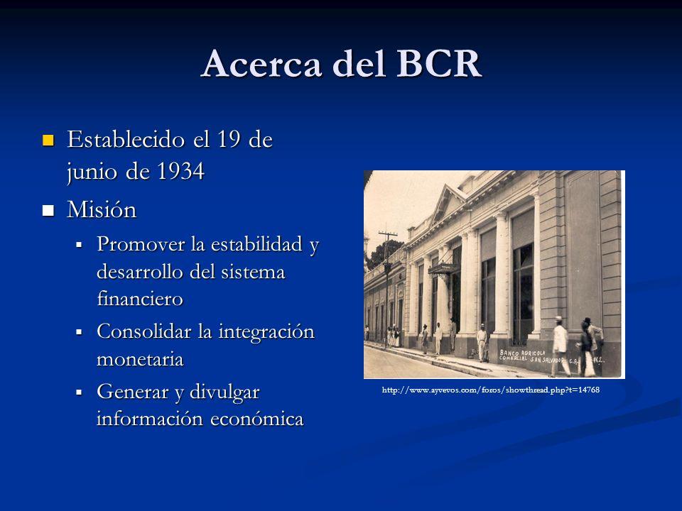 Acerca del BCR Establecido el 19 de junio de 1934 Establecido el 19 de junio de 1934 Misión Misión Promover la estabilidad y desarrollo del sistema fi