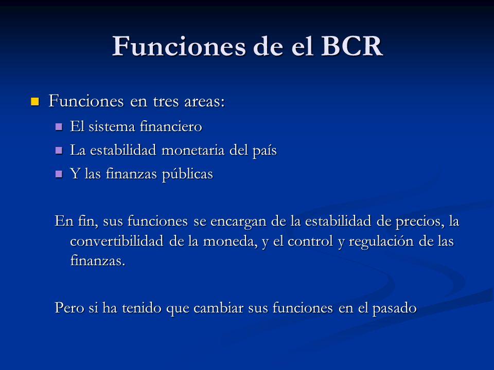 Funciones de el BCR Funciones en tres areas: Funciones en tres areas: El sistema financiero El sistema financiero La estabilidad monetaria del país La