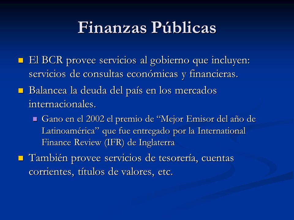 Finanzas Públicas El BCR provee servicios al gobierno que incluyen: servicios de consultas económicas y financieras. El BCR provee servicios al gobier