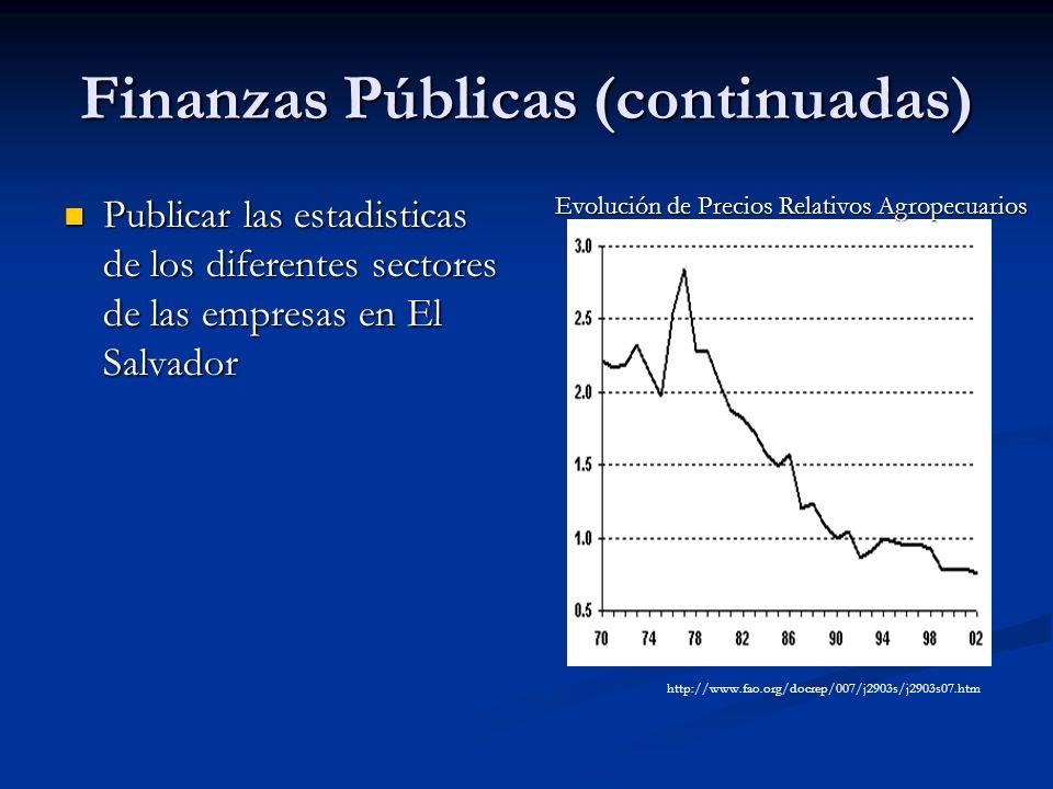 Finanzas Públicas (continuadas) Publicar las estadisticas de los diferentes sectores de las empresas en El Salvador Publicar las estadisticas de los d