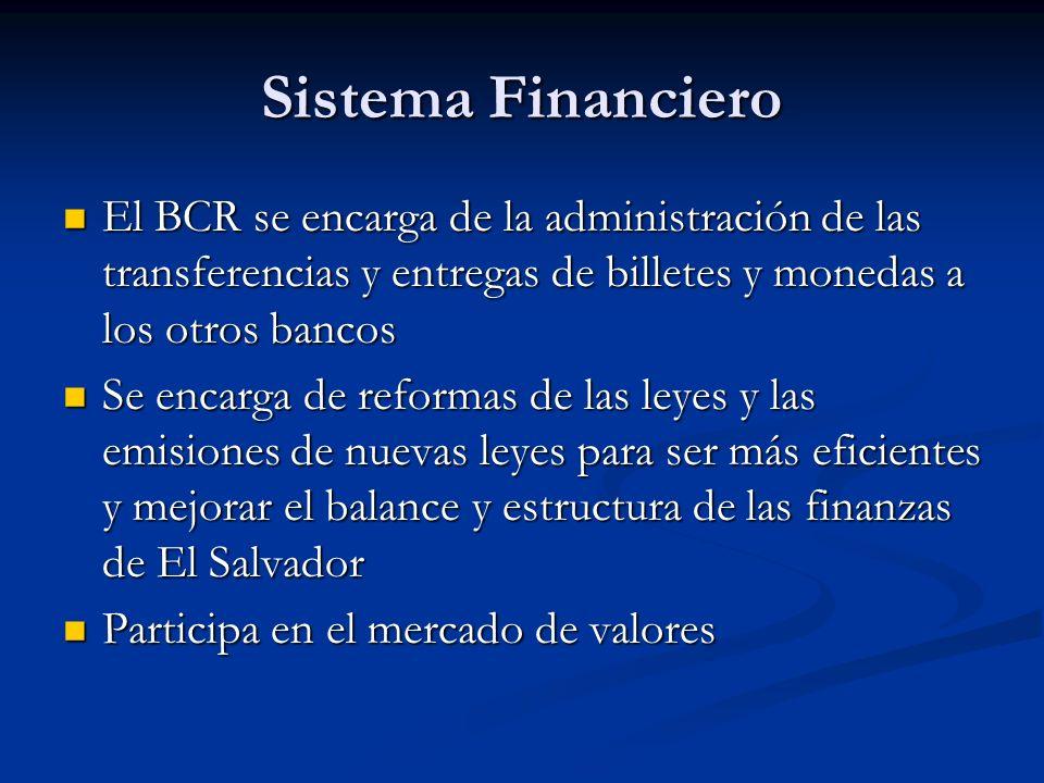 Sistema Financiero El BCR se encarga de la administración de las transferencias y entregas de billetes y monedas a los otros bancos El BCR se encarga