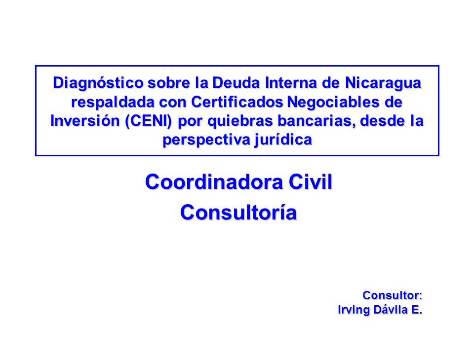 Diagnóstico sobre la Deuda Interna de Nicaragua respaldada con Certificados Negociables de Inversión (CENI) por quiebras bancarias, desde la perspecti
