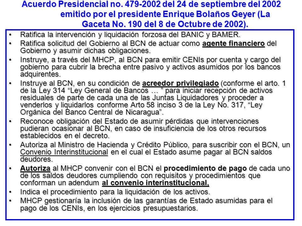 Acuerdo Presidencial no. 479-2002 del 24 de septiembre del 2002 emitido por el presidente Enrique Bolaños Geyer (La Gaceta No. 190 del 8 de Octubre de