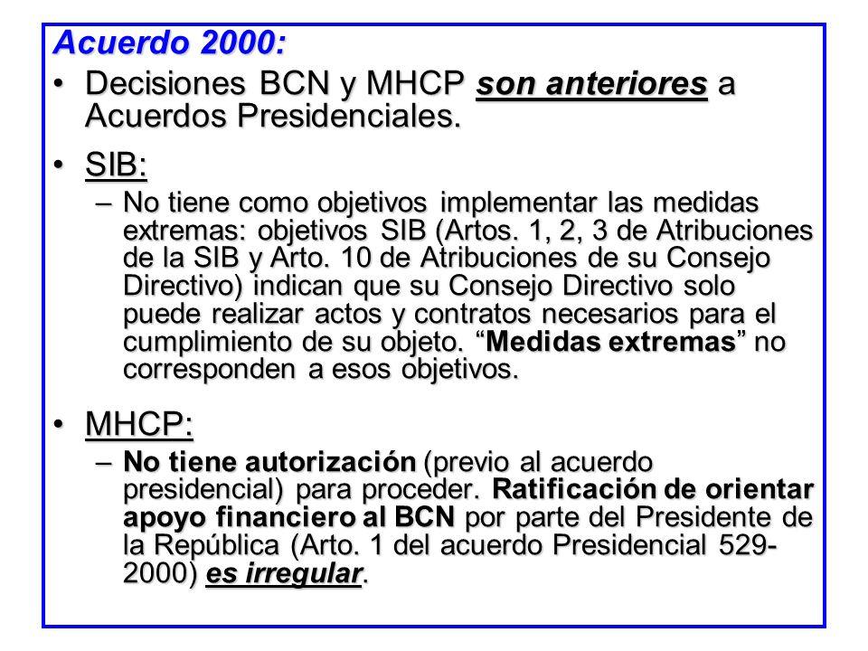 Acuerdo 2000: Decisiones BCN y MHCP son anteriores a Acuerdos Presidenciales.Decisiones BCN y MHCP son anteriores a Acuerdos Presidenciales. SIB:SIB: