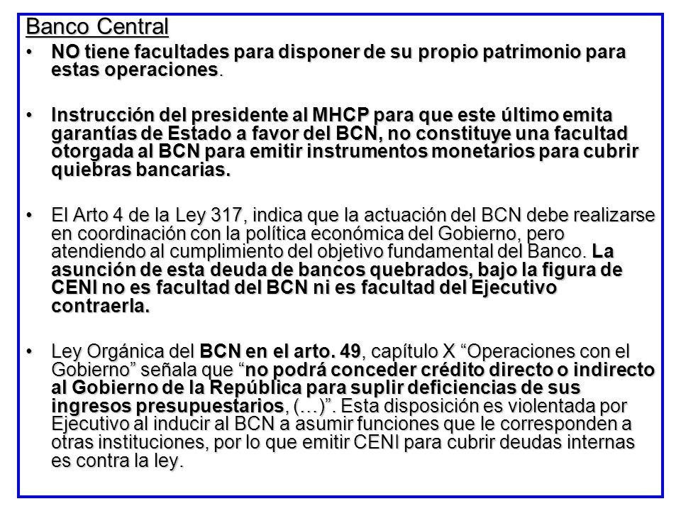 Banco Central NO tiene facultades para disponer de su propio patrimonio para estas operaciones.NO tiene facultades para disponer de su propio patrimon