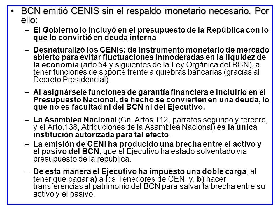 BCN emitió CENIS sin el respaldo monetario necesario. Por ello:BCN emitió CENIS sin el respaldo monetario necesario. Por ello: –El Gobierno lo incluyó