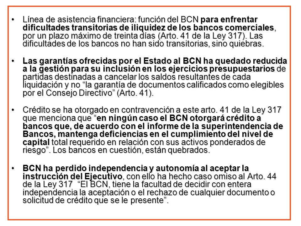 Línea de asistencia financiera: función del BCN para enfrentar dificultades transitorias de iliquidez de los bancos comerciales, por un plazo máximo d