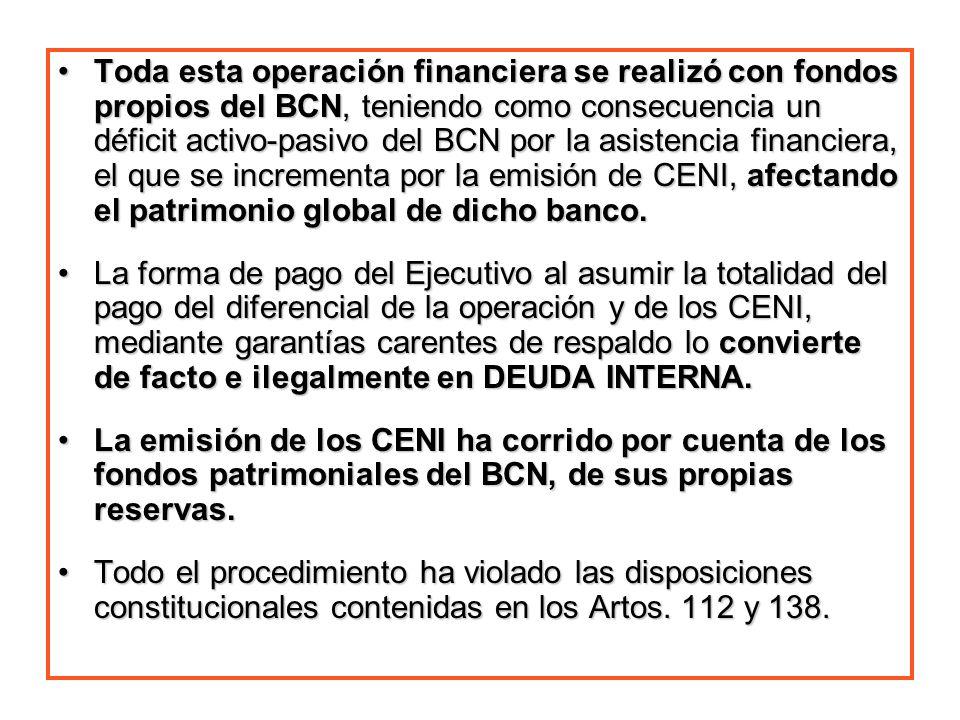 Toda esta operación financiera se realizó con fondos propios del BCN, teniendo como consecuencia un déficit activo-pasivo del BCN por la asistencia fi