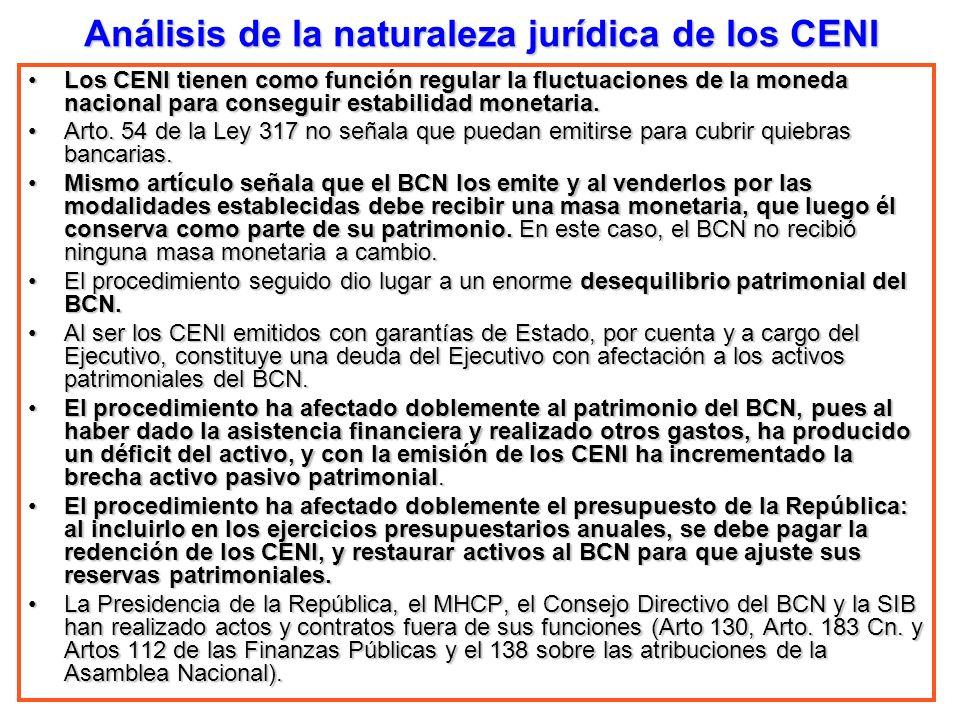 Análisis de la naturaleza jurídica de los CENI Los CENI tienen como función regular la fluctuaciones de la moneda nacional para conseguir estabilidad