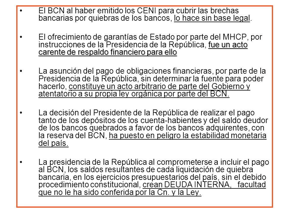 El BCN al haber emitido los CENI para cubrir las brechas bancarias por quiebras de los bancos, lo hace sin base legal. fue un acto carente de respaldo