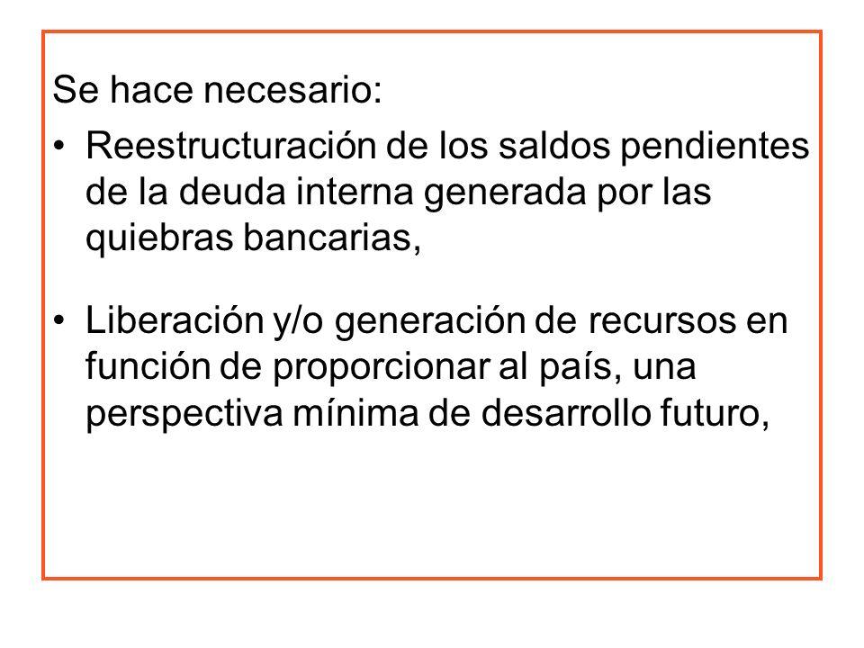 Se hace necesario: Reestructuración de los saldos pendientes de la deuda interna generada por las quiebras bancarias, Liberación y/o generación de rec
