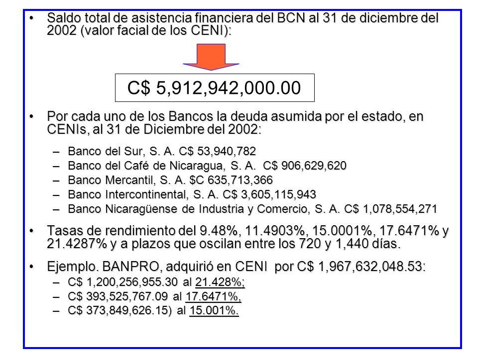 Saldo total de asistencia financiera del BCN al 31 de diciembre del 2002 (valor facial de los CENI):Saldo total de asistencia financiera del BCN al 31