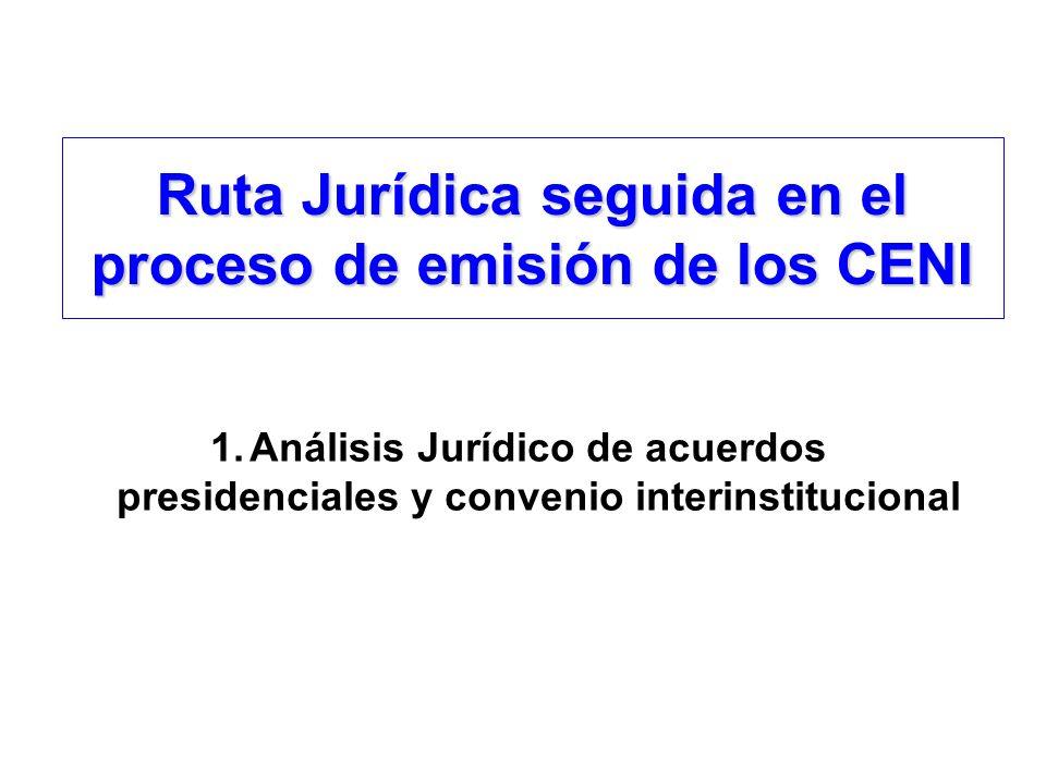 Ruta Jurídica seguida en el proceso de emisión de los CENI 1.Análisis Jurídico de acuerdos presidenciales y convenio interinstitucional