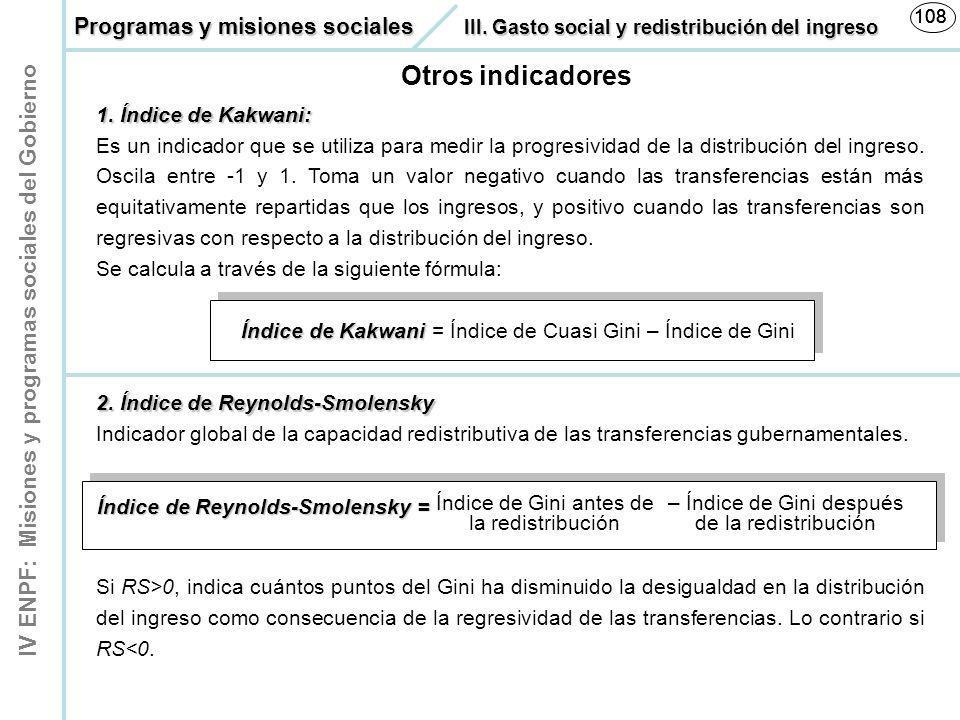 IV ENPF: Misiones y programas sociales del Gobierno 108 Otros indicadores 1.Índice de Kakwani: 1. Índice de Kakwani: Es un indicador que se utiliza pa