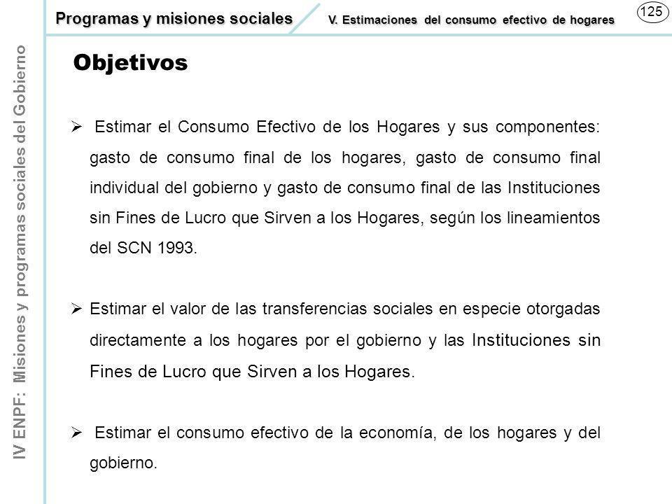 IV ENPF: Misiones y programas sociales del Gobierno 125 Estimar el Consumo Efectivo de los Hogares y sus componentes: gasto de consumo final de los ho