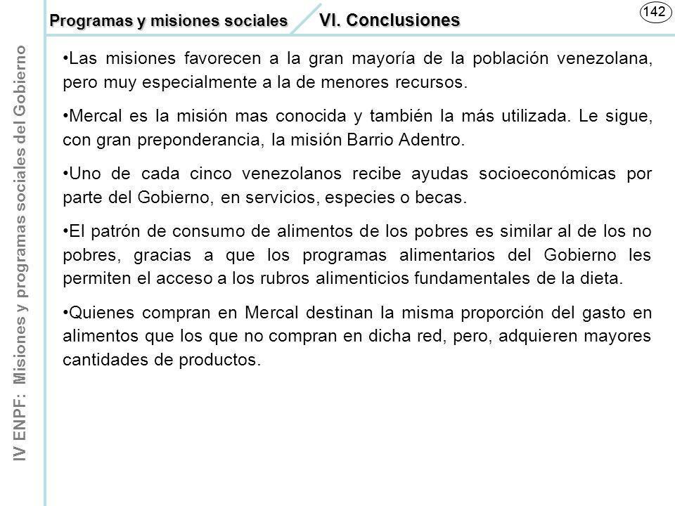 IV ENPF: Misiones y programas sociales del Gobierno 142 Las misiones favorecen a la gran mayoría de la población venezolana, pero muy especialmente a