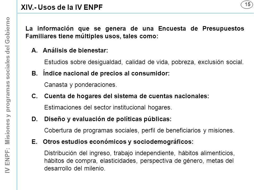 IV ENPF: Misiones y programas sociales del Gobierno 15 La información que se genera de una Encuesta de Presupuestos Familiares tiene múltiples usos, t