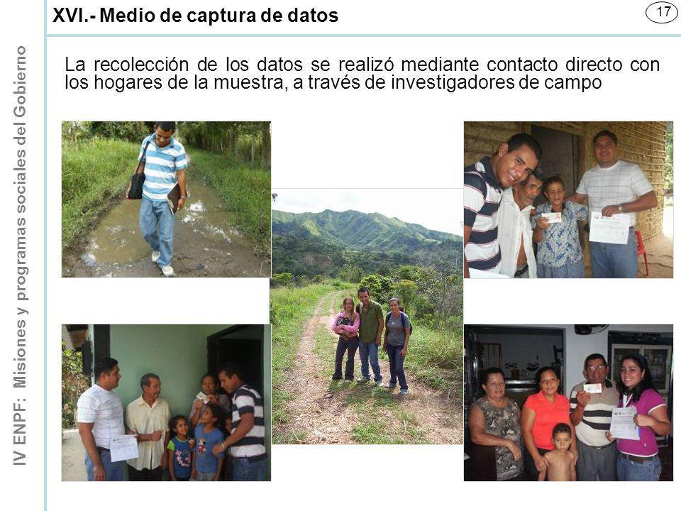 IV ENPF: Misiones y programas sociales del Gobierno 17 XVI.- Medio de captura de datos La recolección de los datos se realizó mediante contacto direct