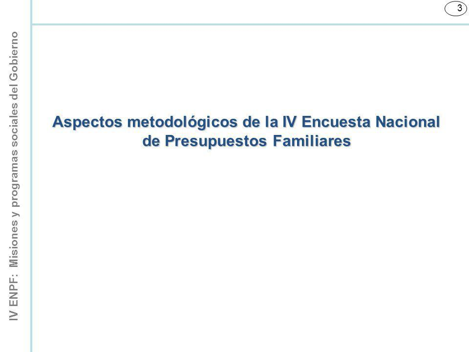 IV ENPF: Misiones y programas sociales del Gobierno 124 El Banco Central de Venezuela (BCV), en respuesta a la necesidad de contar con estadísticas que reflejen el bienestar social de la población, desarrolló un indicador sobre el consumo efectivo de los hogares (CEH), de periodicidad trimestral.