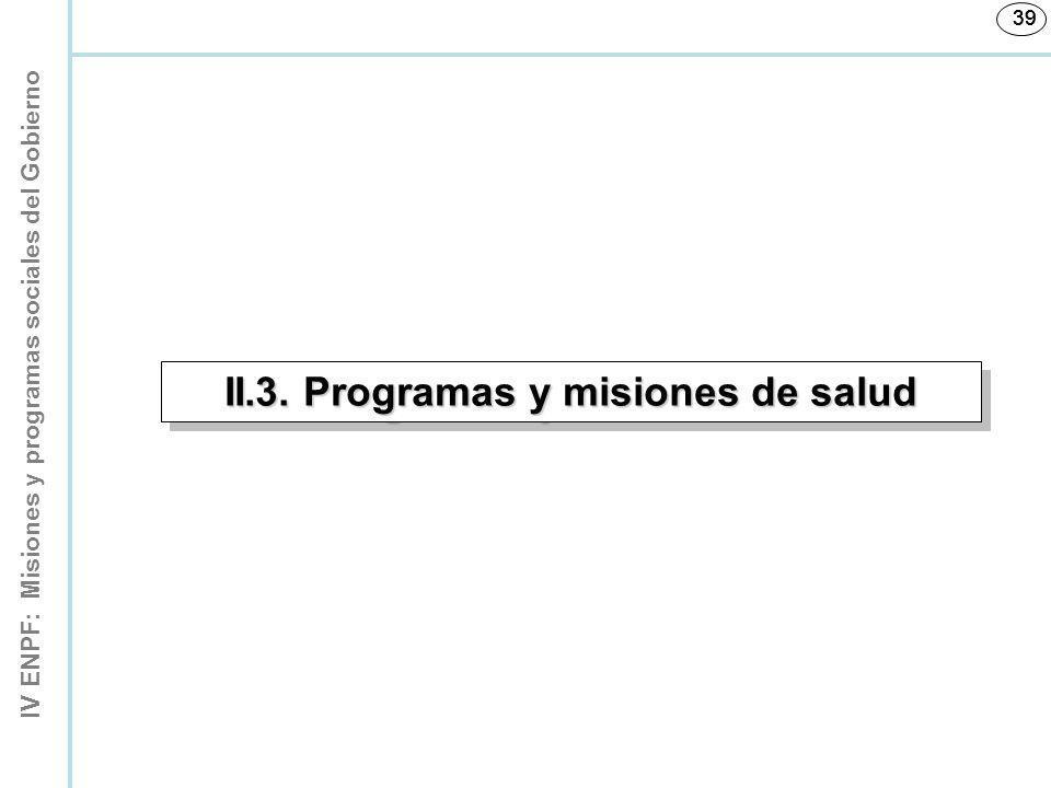 IV ENPF: Misiones y programas sociales del Gobierno 39 II.3. Programas y misiones de salud