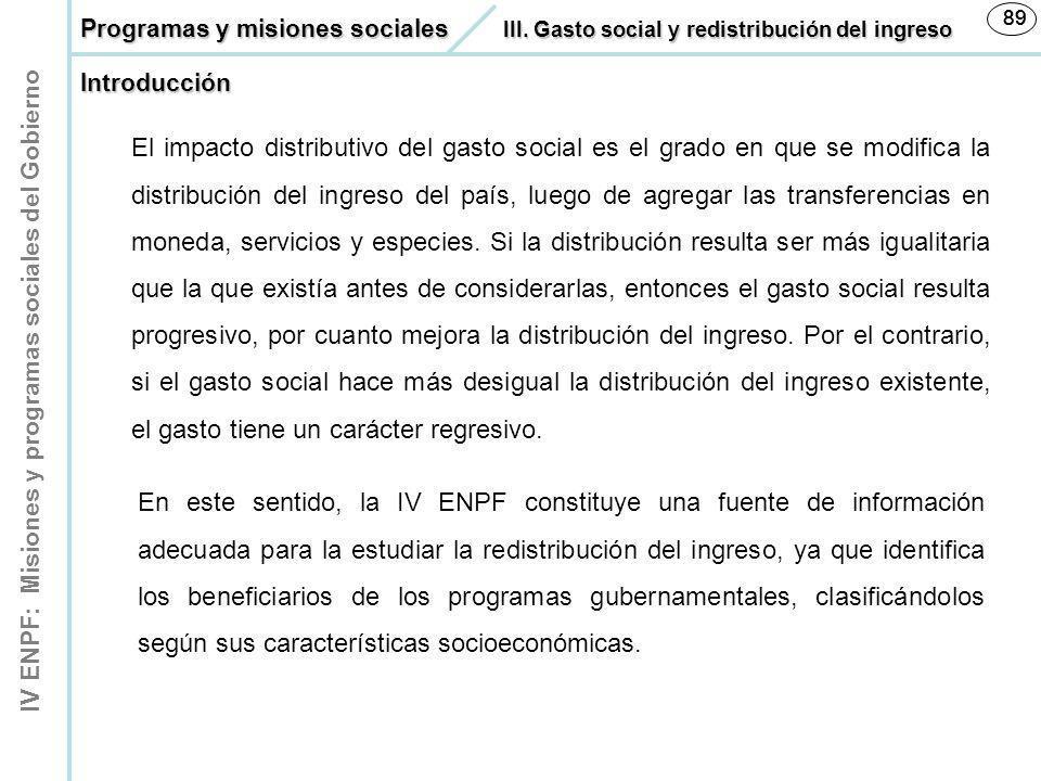 IV ENPF: Misiones y programas sociales del Gobierno 89 En este sentido, la IV ENPF constituye una fuente de información adecuada para la estudiar la r