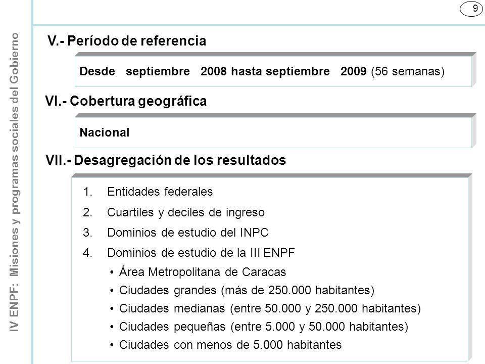IV ENPF: Misiones y programas sociales del Gobierno 9 Desde septiembre 2008 hasta septiembre 2009 (56 semanas) V.- Período de referencia VI.- Cobertur