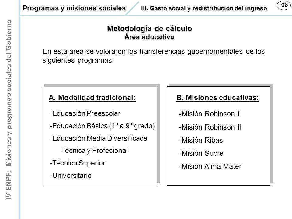 IV ENPF: Misiones y programas sociales del Gobierno 96 Metodología de cálculo Área educativa En esta área se valoraron las transferencias gubernamenta