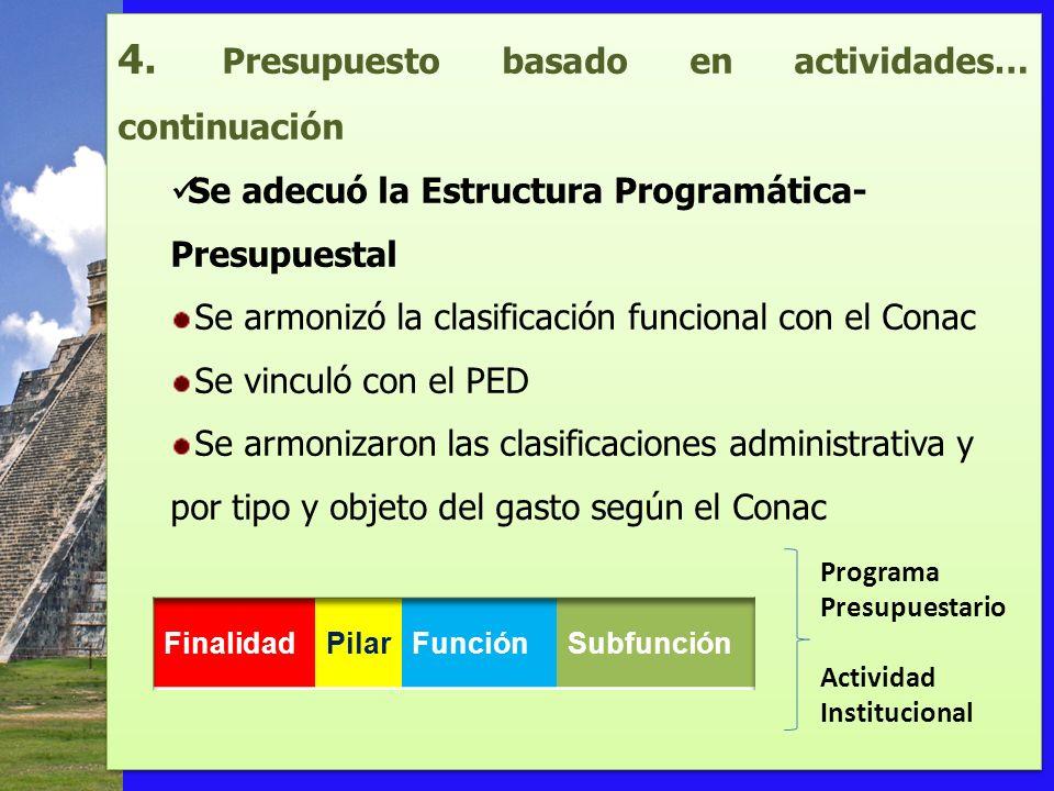 4. Presupuesto basado en actividades… continuación Se adecuó la Estructura Programática- Presupuestal Se armonizó la clasificación funcional con el Co