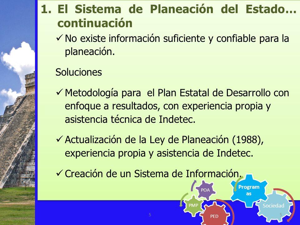 1.El Sistema de Planeación del Estado… continuación No existe información suficiente y confiable para la planeación. Soluciones Metodología para el Pl