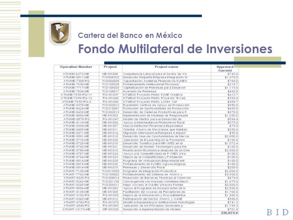 Cartera del Banco en México Fondo Multilateral de Inversiones