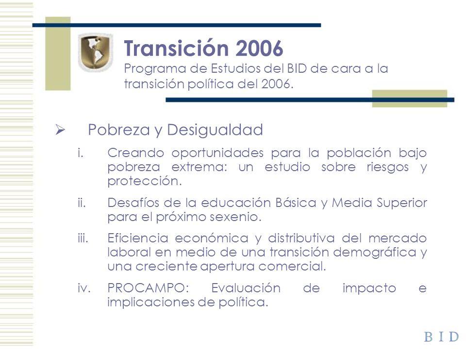 Transición 2006 Programa de Estudios del BID de cara a la transición política del 2006. Pobreza y Desigualdad i.Creando oportunidades para la població