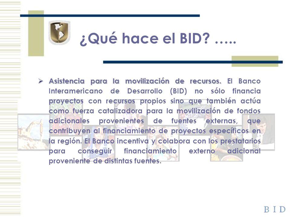 ¿Qué hace el BID? ….. Asistencia para la movilización de recursos. Asistencia para la movilización de recursos. El Banco Interamericano de Desarrollo