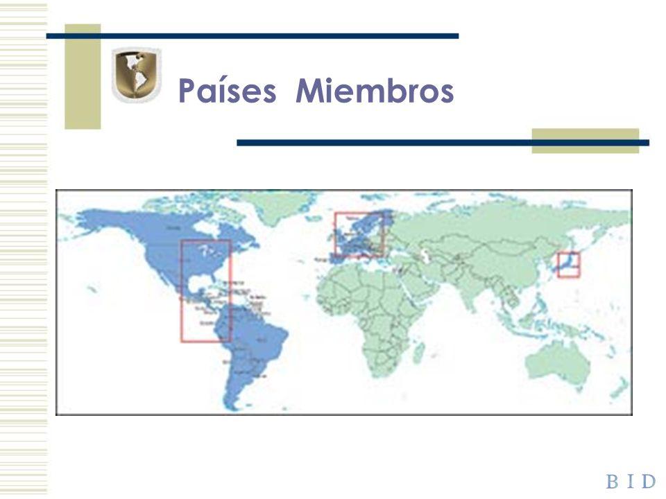 Países Prestatarios El BID tiene 26 países miembros prestatarios, todos ellos en América Latina y el Caribe.