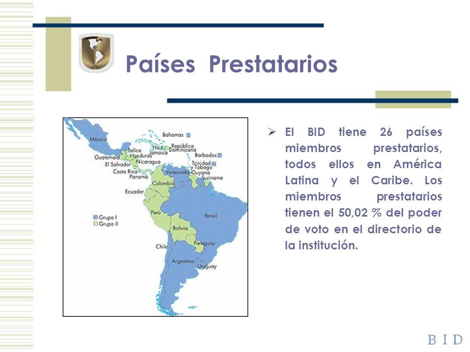 Países Prestatarios El BID tiene 26 países miembros prestatarios, todos ellos en América Latina y el Caribe. Los miembros prestatarios tienen el 50,02