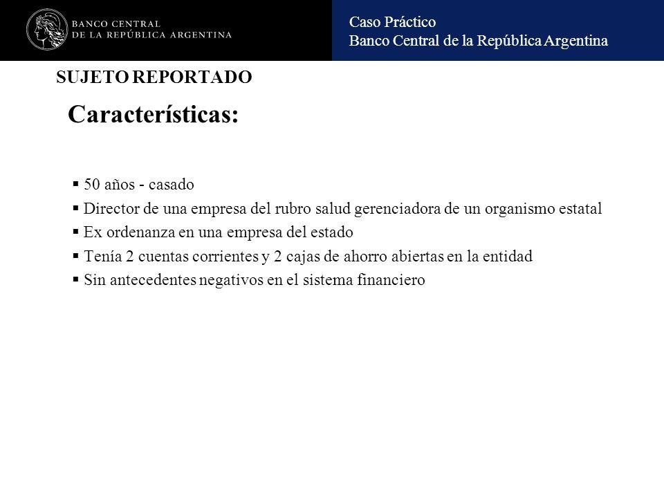 Caso Práctico Banco Central de la República Argentina OPERATORIA REPORTADA C/C A Dep.Efec $ 1.700.000 Transfer.