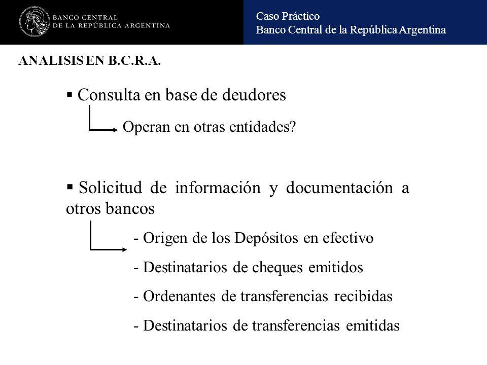 Caso Práctico Banco Central de la República Argentina INUSUALIDADES DETERMINADAS: Empresas domiciliadas en paraísos fiscales con idéntica dirección en el exterior (excepto la que residía en Moscú) y en Buenos Aires, apoderado y accionistas y directivos en común.