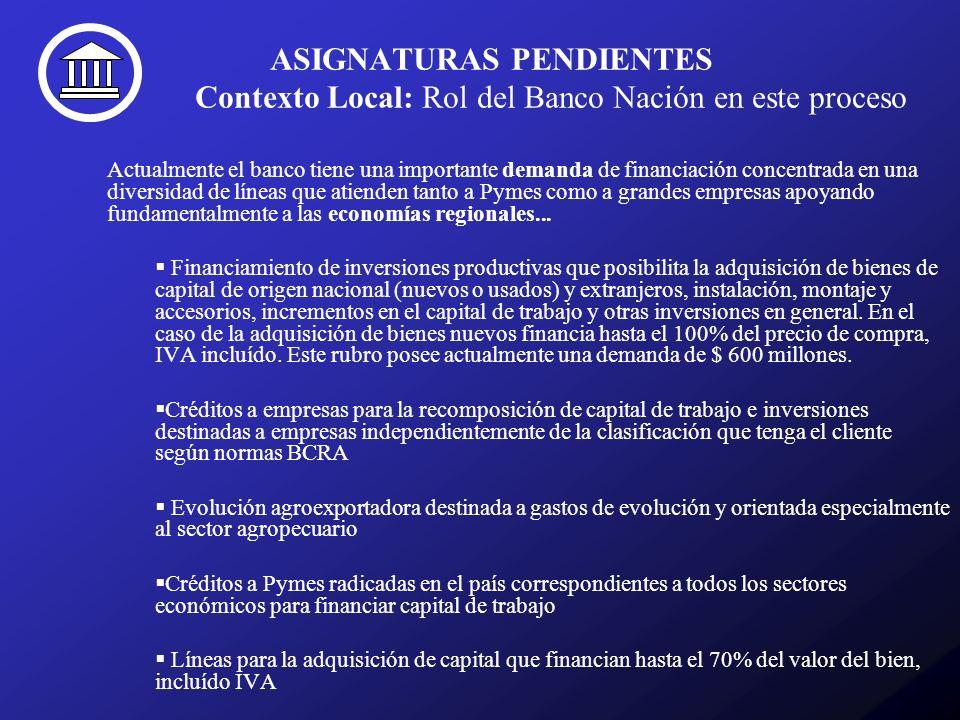 ASIGNATURAS PENDIENTES Contexto Local: Rol del Banco Nación en este proceso Actualmente el banco tiene una importante demanda de financiación concentr