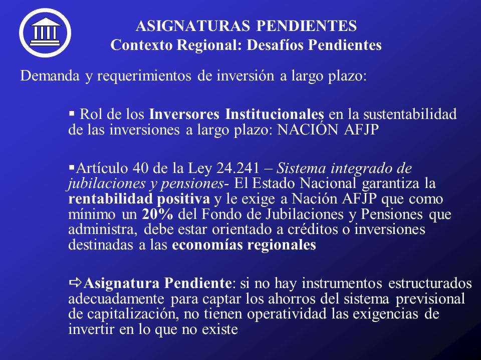 ASIGNATURAS PENDIENTES Contexto Regional: Desafíos Pendientes Demanda y requerimientos de inversión a largo plazo: Rol de los Inversores Institucionales en la sustentabilidad de las inversiones a largo plazo: NACIÓN AFJP Artículo 40 de la Ley 24.241 – Sistema integrado de jubilaciones y pensiones- El Estado Nacional garantiza la rentabilidad positiva y le exige a Nación AFJP que como mínimo un 20% del Fondo de Jubilaciones y Pensiones que administra, debe estar orientado a créditos o inversiones destinadas a las economías regionales Asignatura Pendiente: si no hay instrumentos estructurados adecuadamente para captar los ahorros del sistema previsional de capitalización, no tienen operatividad las exigencias de invertir en lo que no existe