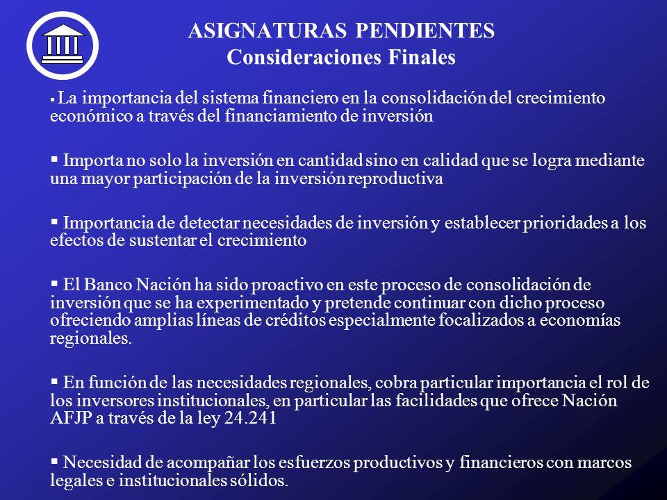 ASIGNATURAS PENDIENTES Consideraciones Finales La importancia del sistema financiero en la consolidación del crecimiento económico a través del financ