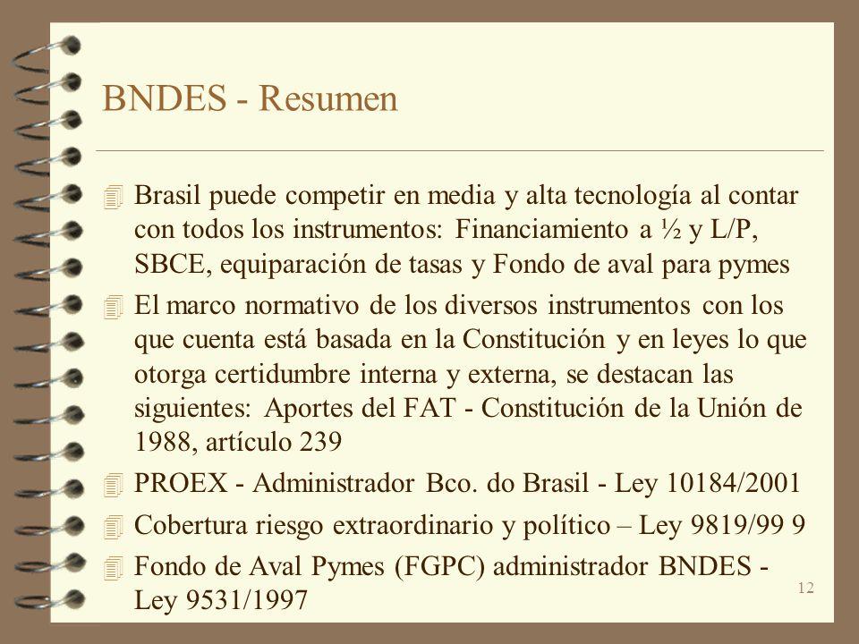 12 BNDES - Resumen 4 Brasil puede competir en media y alta tecnología al contar con todos los instrumentos: Financiamiento a ½ y L/P, SBCE, equiparaci