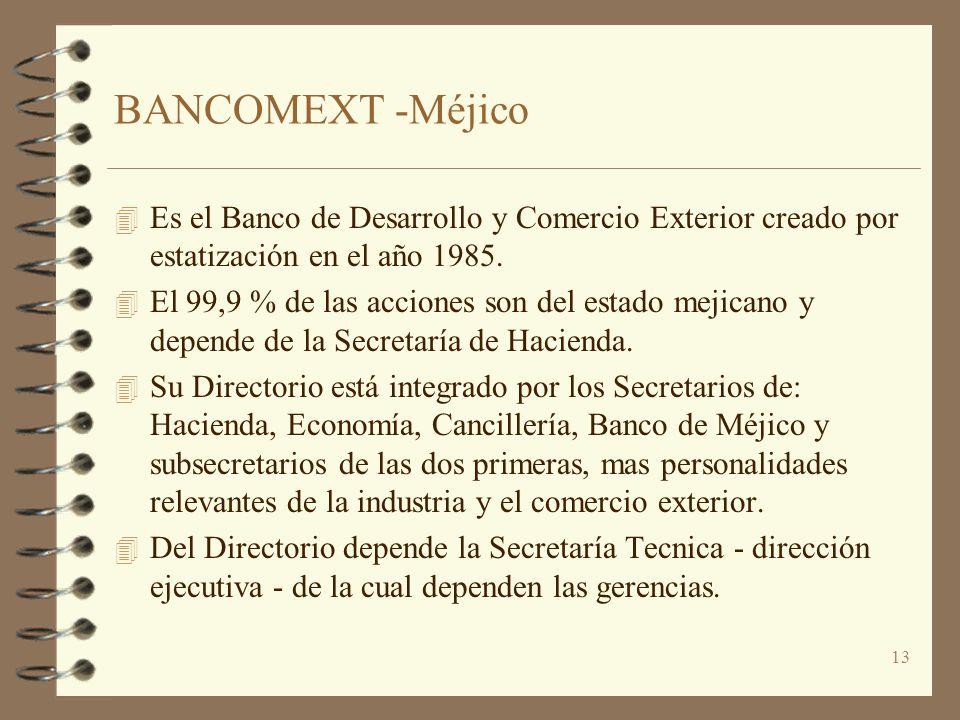 13 BANCOMEXT -Méjico 4 Es el Banco de Desarrollo y Comercio Exterior creado por estatización en el año 1985. 4 El 99,9 % de las acciones son del estad