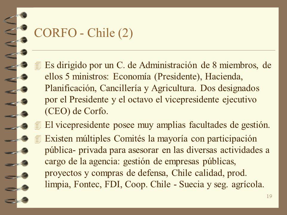 19 CORFO - Chile (2) 4 Es dirigido por un C. de Administración de 8 miembros, de ellos 5 ministros: Economía (Presidente), Hacienda, Planificación, Ca
