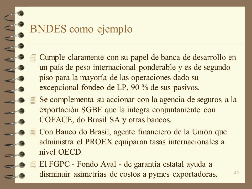 25 BNDES como ejemplo 4 Cumple claramente con su papel de banca de desarrollo en un país de peso internacional ponderable y es de segundo piso para la