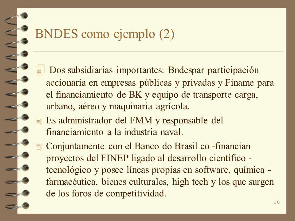 26 BNDES como ejemplo (2) 4 Dos subsidiarias importantes: Bndespar participación accionaria en empresas públicas y privadas y Finame para el financiam