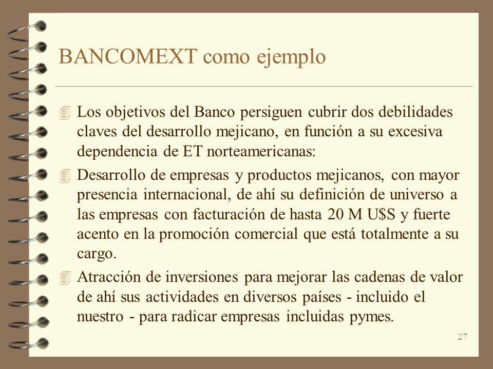 27 BANCOMEXT como ejemplo 4 Los objetivos del Banco persiguen cubrir dos debilidades claves del desarrollo mejicano, en función a su excesiva dependen