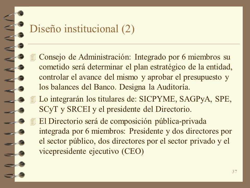 37 Diseño institucional (2) 4 Consejo de Administración: Integrado por 6 miembros su cometido será determinar el plan estratégico de la entidad, contr