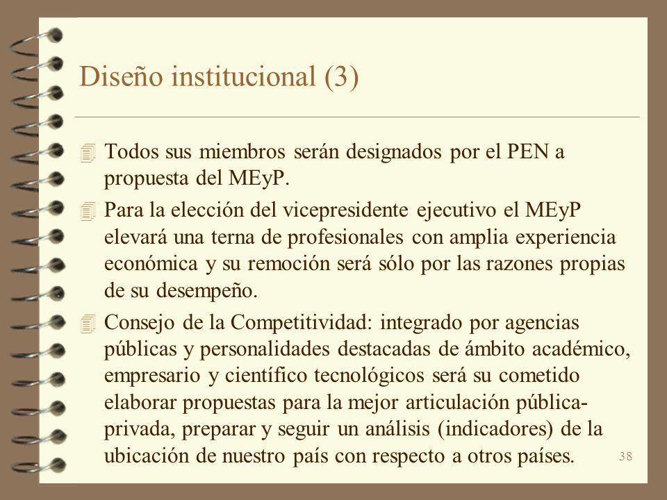 38 Diseño institucional (3) 4 Todos sus miembros serán designados por el PEN a propuesta del MEyP. 4 Para la elección del vicepresidente ejecutivo el