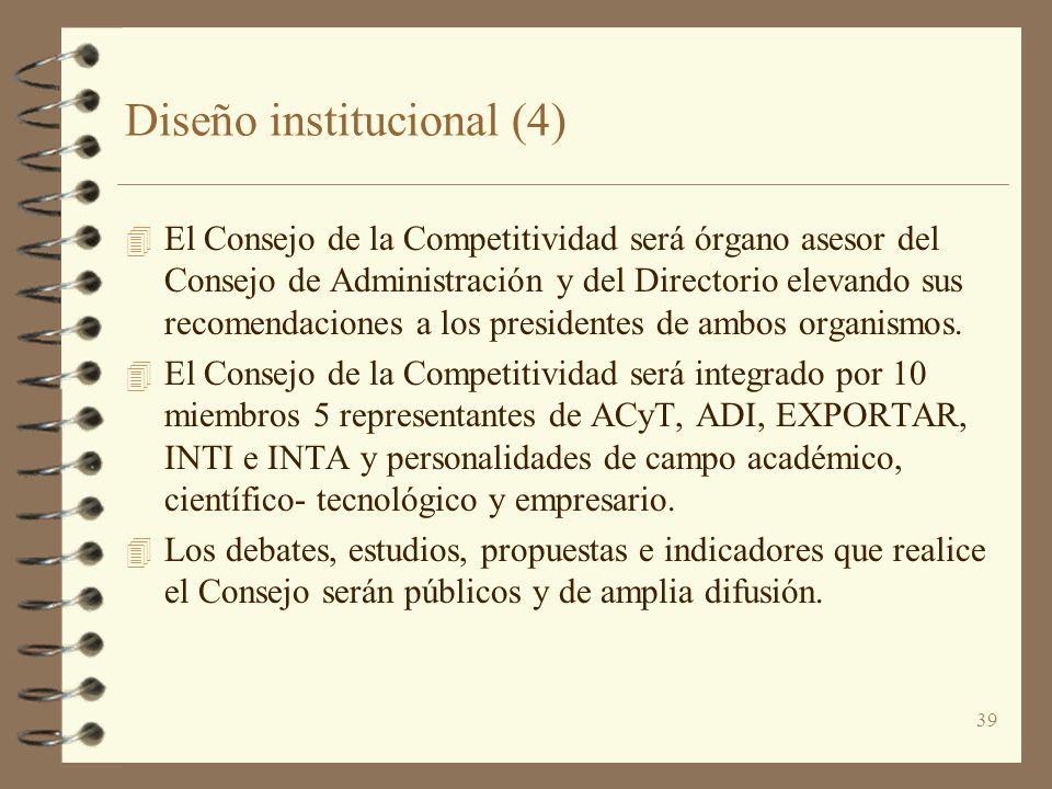 39 Diseño institucional (4) 4 El Consejo de la Competitividad será órgano asesor del Consejo de Administración y del Directorio elevando sus recomenda